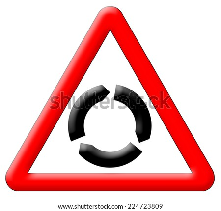 Roundabout traffic sign isolated over white background - stock photo