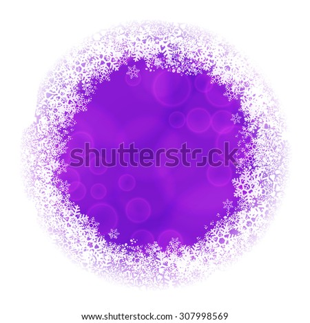 Rounded frame of snowflakes with violet blurred backdrop. Raster version - stock photo
