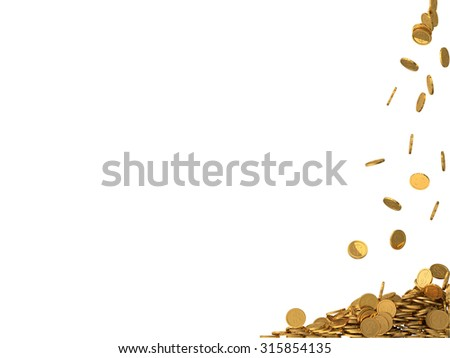 rounded golden coins with dollar symbol. - stock photo