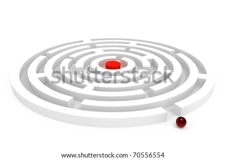 Rounded maze isolated on white background - stock photo