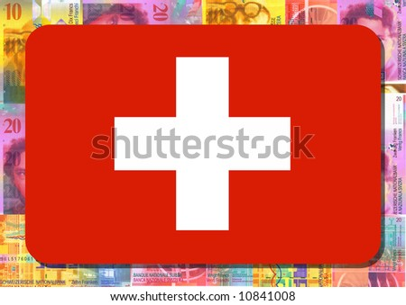 Rounded rectangle in colours of Swiss flag with Swiss Francs illustration - stock photo