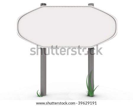 Rounded road sign with grass - 3d image - stock photo