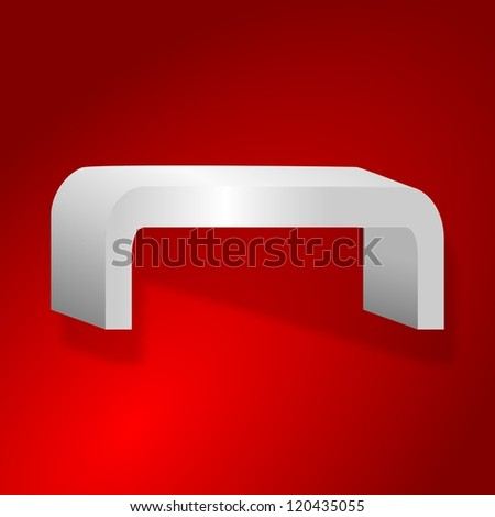 Rounded shelves on a red background - illustration - stock photo