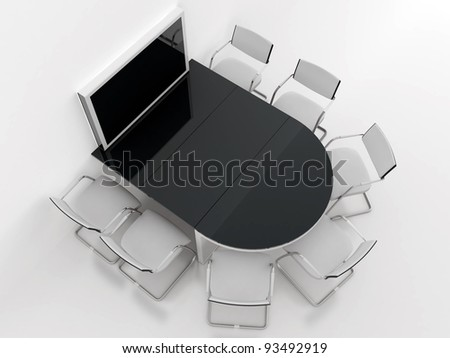 rounded table, chairs and screen for presentations in modern meeting room - stock photo