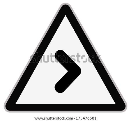 Rounded triangle shape hazard warning sign with arrow symbol. Bitmap illustration - stock photo