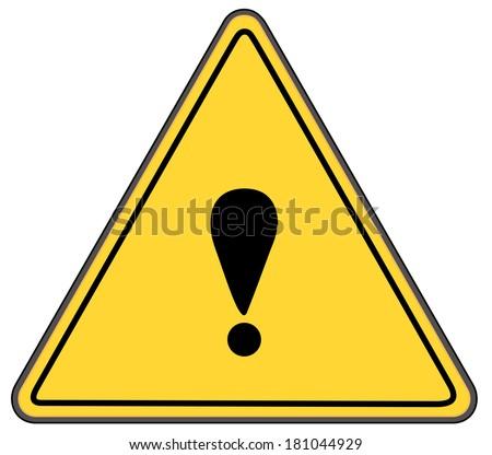 Rounded triangle shape hazard warning sign with exclamation mark symbol. Bitmap - stock photo