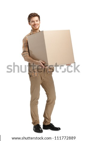 Rounds man carries the box, isolated, white background - stock photo