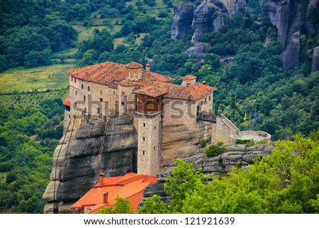 Roussanou Monastery at Meteora Monasteries in Trikala region, Greece. - stock photo