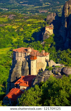 Roussanou Monastery of Meteora Monasteries in Trikala region, Greece during summer season. - stock photo