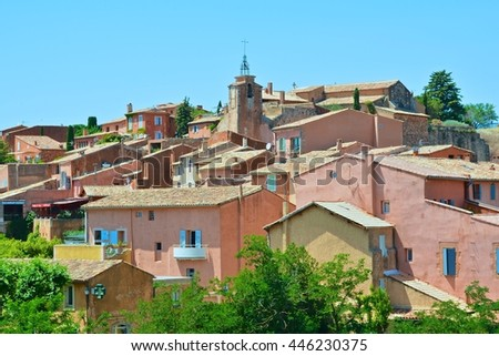 Roussillon provence view of small town famous for the gorges of red and yellow ocher in the forest and rock formations