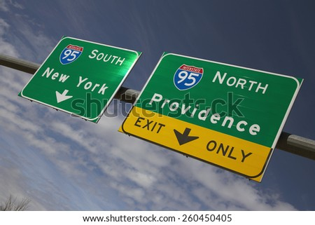 Route 95 directing to New York City and Providence Rhode Island, 03.19.2014 - stock photo
