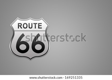 Route 66 glossy Road Sign isolated on grey background.