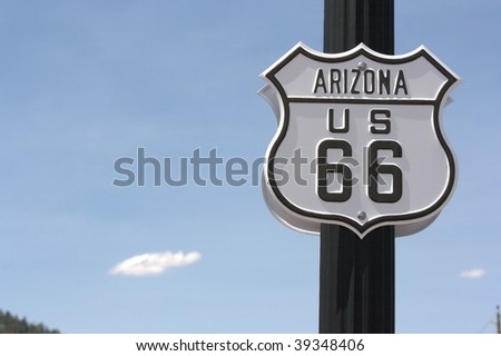 route 66 historical sign, arizona - stock photo