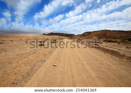 Route in the desert, Chile - stock photo