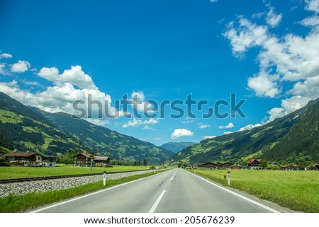 Route in  the high mountains Alps Austria - stock photo