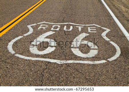 Route 66 in the Mojave Desert. - stock photo