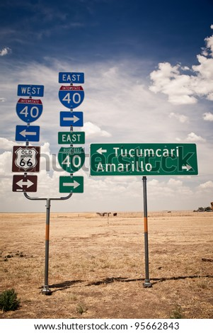 Route 66 intersection signs - stock photo