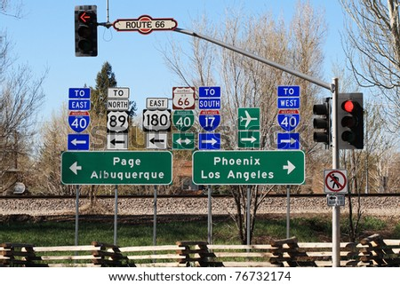 route 66 intersection signs in Flagstaff Arizona - stock photo