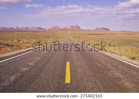 Route 163 just north of Monument Valley in Utah - stock photo
