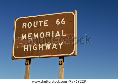 Route 66 Memorial Highway sign in Oklahoma