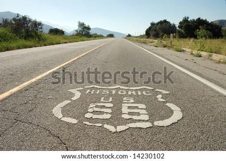 Route 66; near Cajon Pass; San Bernardino, California - stock photo