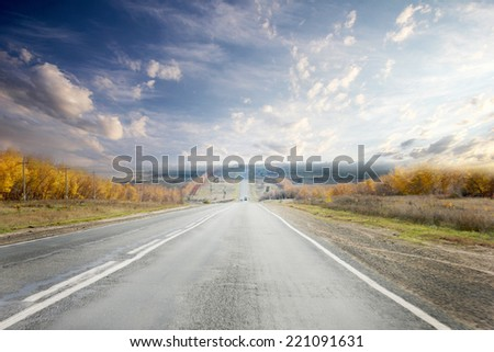 route on background celestial landscape - stock photo