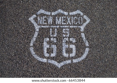 Route 66 printed on pavement. - stock photo