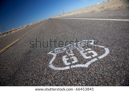 Route 66 printed on pavement, selective focus. - stock photo
