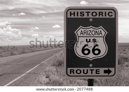 Route 66 road sign