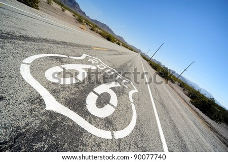Route 66 road sign - stock photo