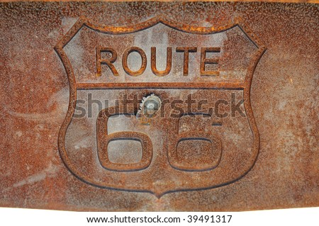 Route 66, rusty Sign - stock photo