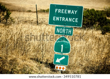 Route 1 sign, also known as the Pacific Coast Highway - stock photo