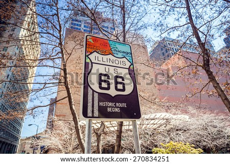 Route 66 sign, the beginning of historic Route 66, leading through Chicago, Illinois. - stock photo