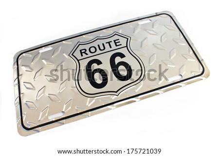 Route 66 silver metallic Sign isolated on white - stock photo