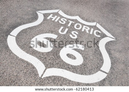 Route 66, symbol of the nostalgic highway of the USA - stock photo
