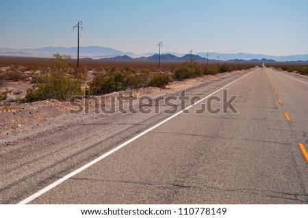 Route 66 to Joshua Tree National Park, California, USA - stock photo