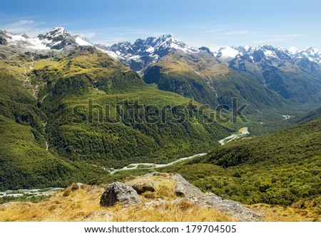 routeburn track, fabulous scenery in New Zealand - stock photo