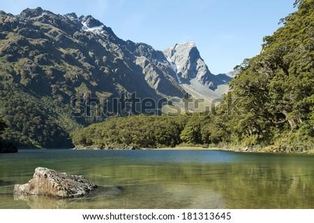 Routeburn track, fabulous scenery in New Zealand - stock photo