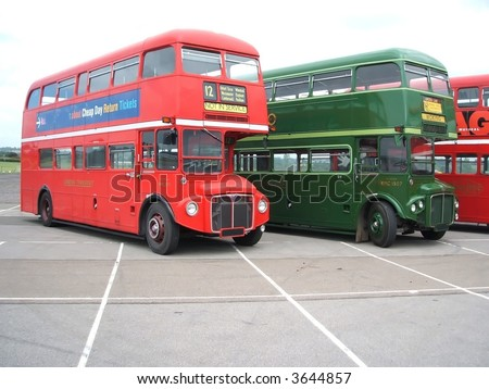Routemasters - stock photo