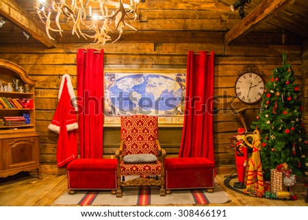 ROVANIEMI/FINLAND - FEBRUARY 25, 2013; The Santa Park interiors. Santa Claus office. - stock photo