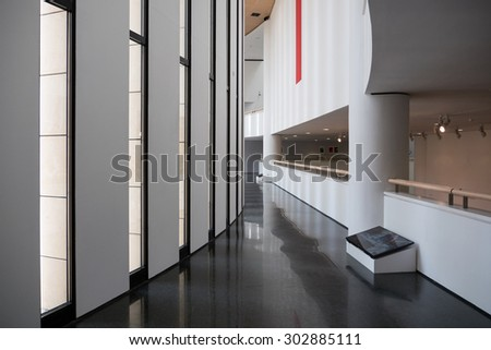 ROVERETO, ITALY - JULY 23, 2015: Mart Museum interior view. The Museum of Modern and Contemporary Art of Trento and Rovereto (MART) contains mostly modern and contemporary artworks. - stock photo