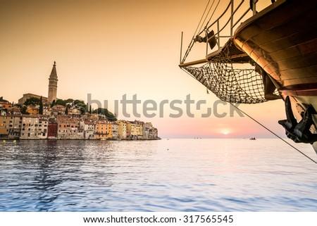 Rovinj as beautiful summer destination, Croatia, Europe - stock photo