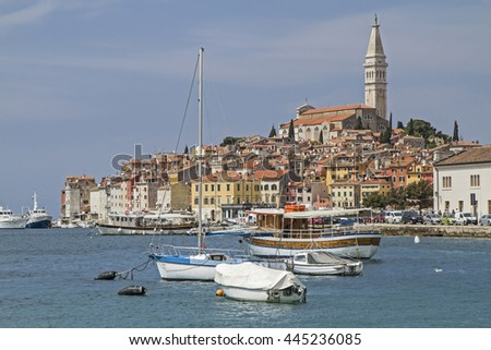 Rovinj idyllic Croatian town picturesquely situated on a peninsula - stock photo