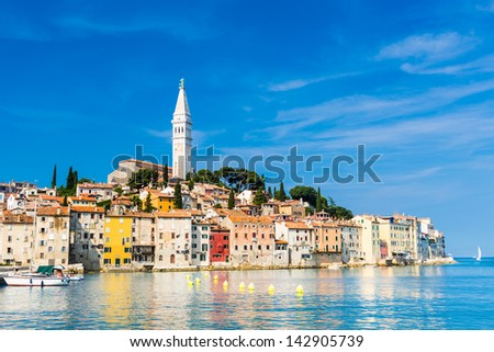 Rovinj is a city in Croatia situated on the north Adriatic Sea Located on the western coast of the Istrian peninsula, it is a popular tourist resort and an active fishing port. - stock photo