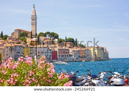 Rovinj is a romantic city and very popular tourist destination in Croatia - stock photo