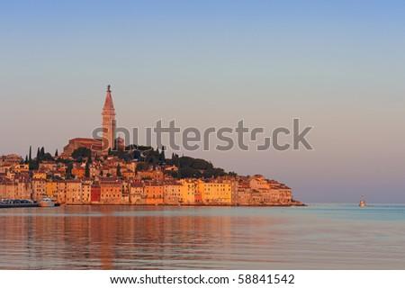 Rovinj old town, Adriatic coast of Croatia, popular tourist destination - stock photo