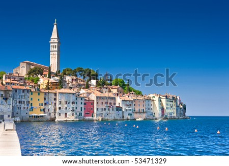 Rovinj old town in Croatia, Adriatic coast, Istra region, HDR image - stock photo