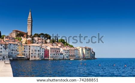Rovinj old town in Croatia, Adriatic coast, Istria region, popular touristic destination. - stock photo