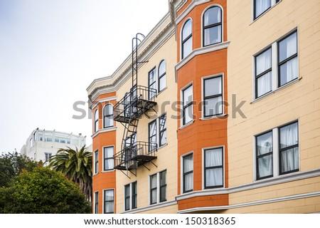 row apartments in New York City - stock photo
