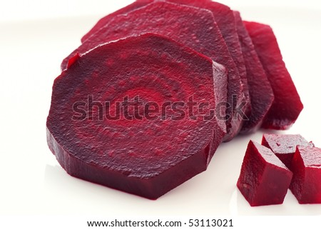 Row Beetroot Slices - stock photo